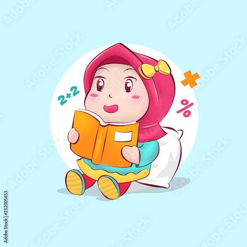 Photo Cute Chibi Muslim Girl in Hijab Reading and Learning Books