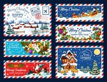Christmas Tree, Gifts And Santa. Xmas Postcard