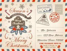 Christmas Holiday Airmail Postcard, Greeting Card