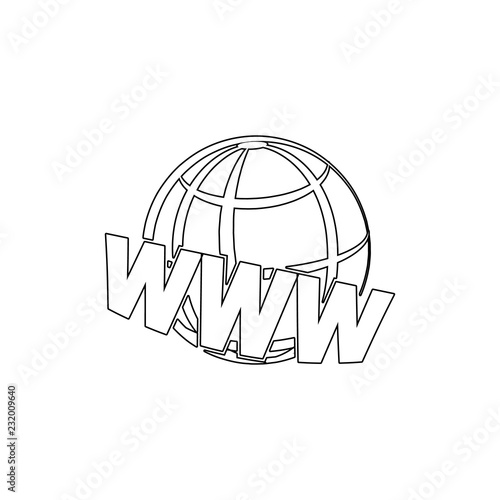 Poster Retro sign web earth icon. Element of media for mobile concept and web apps illustration. Thin line icon for website design and development, app development
