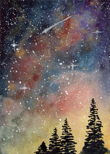 Watercolor Starry Sky And Pine Trees Background
