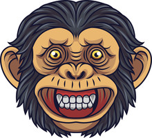 Cartoon Chimpanzee Head Mascot