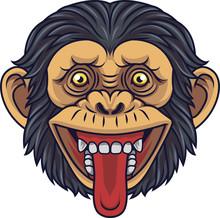 Cartoon Chimpanzee Head Mascot...