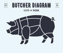 Cut Of Meat Set. Poster Butcher Diagram And Scheme - Pork. Vintage Typographic. Diagrams For Butcher Shop, Design For Restaurant Or Cafe. Vector Illustration