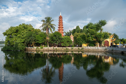 Tran Quoc pagoda in the morning, the oldest temple in Hanoi, Vietnam. Hanoi cityscape.