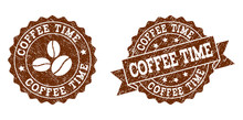 Coffee Time Rubber Stamps. Vec...