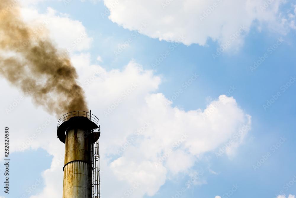 Fototapeta Environmental and contamination : Smoke out of the chimney