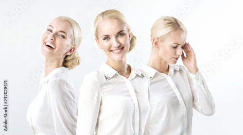 Multiple portrait of a blond businesswoman in happy/bad mood