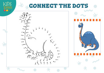 Connect the dots kids game vector illustration. Preschool children education