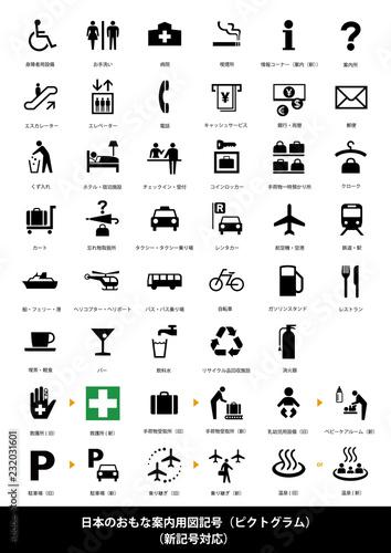 Fotografie, Obraz  日本の主要案内図用記号(ピクトグラム)/新記号対応・説明文付き