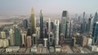 DUBAI, U.A.E - MAY 6 2018: Aerial view Dubai city with busy road and skyscrapers, U.A.E.