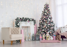 Christmas And New Year Decorated Pink Interior Room With Presents And New Year Tree