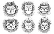 Set Happy cat drawing. Style drawing doodle. Mystic kitty art.