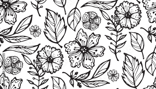 Poster Floral black and white Hand drawn floral pattern with flowers and leaves