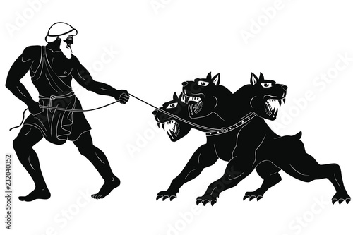 Canvas Print Hercules abducts Cerberus from Hell