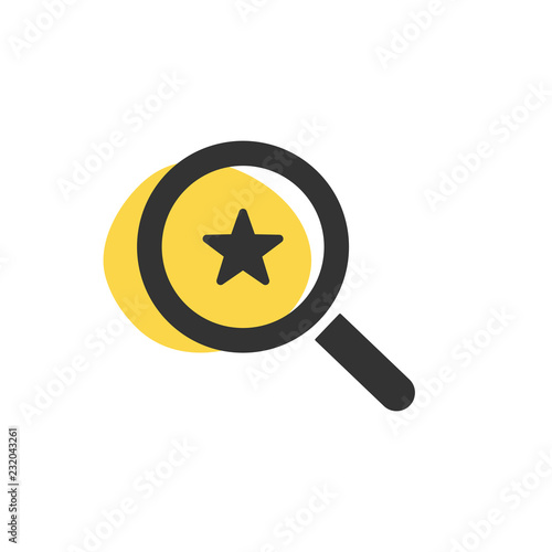 Cuadros en Lienzo Magnifying glass looking for a star isolated web icon