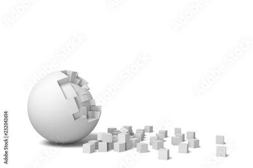 3d rendering of an isolated white round ball getting deteriorated with small pieces Billede på lærred