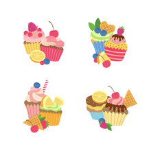 Vector Cute Cartoon Muffins Or...