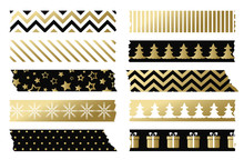 Black And Gold Christmas Washi Tapes. Vector Set Of Adhesive Tape