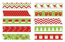Christmas Washi Tapes Set. Vector Template Of Bright Adhesive Tapes