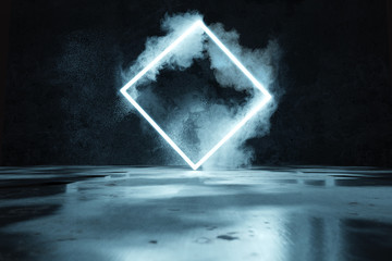 3d rendering of blue lighte...