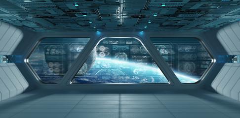 Fototapeta Blue spaceship interior with control panel screens 3D rendering