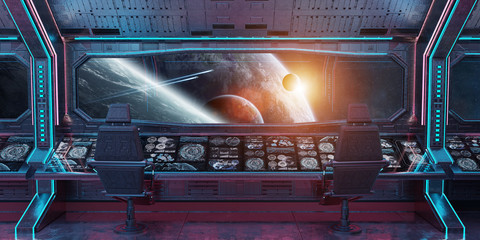 Fototapeta Grunge Spaceship interior with view on planet Earth 3D rendering