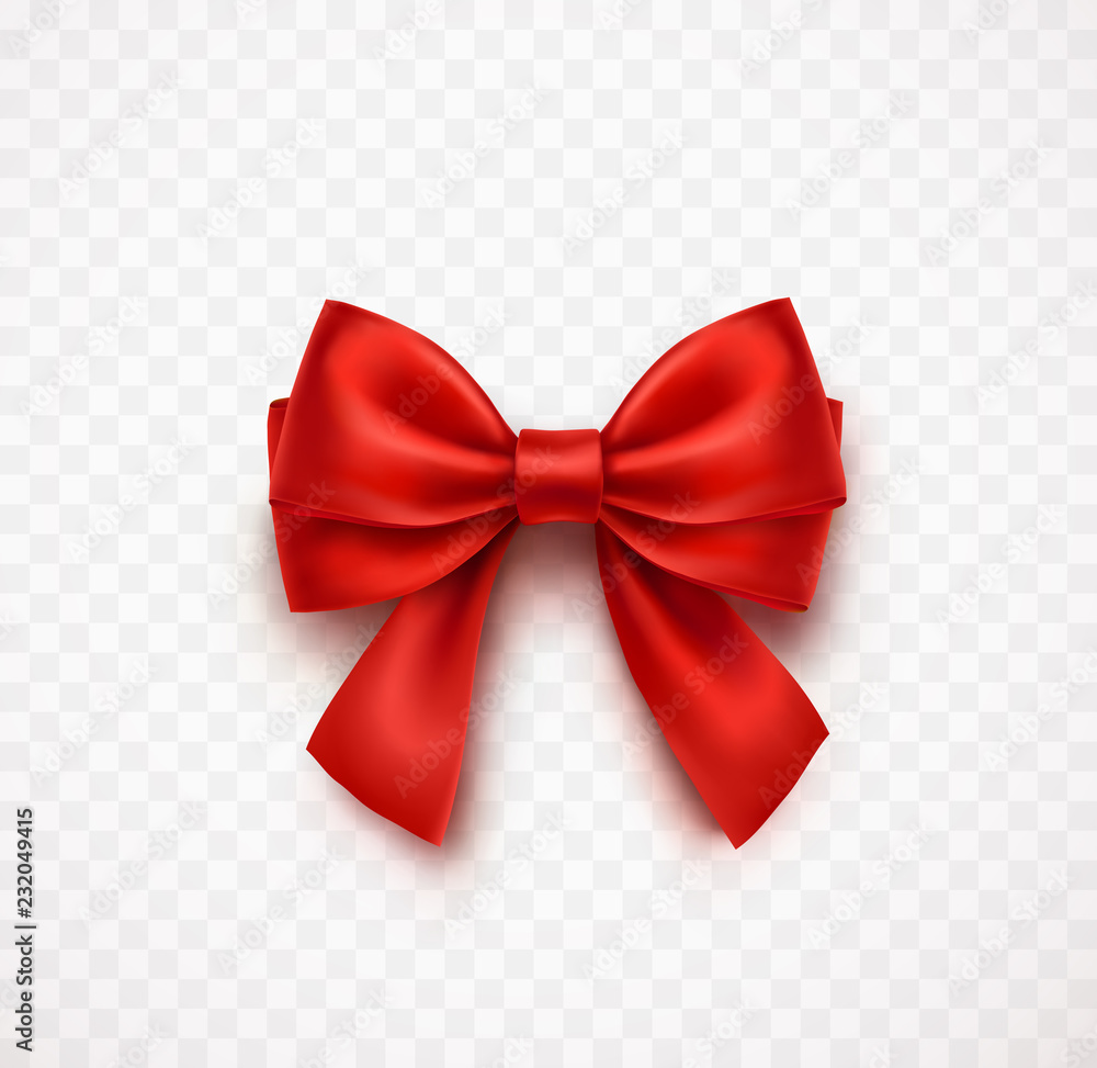 Fototapeta Bow isolated on transparent background. Vector Christmas red satin ribbon with shadow, xmas wrap element template.
