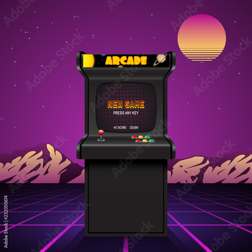 Foto Arcade machine screen, retro vector background