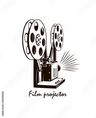monochrome illustration of film projector isolated on white background