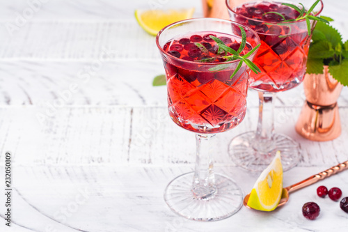 Foto op Plexiglas Cocktail Cranberry cocktail with rosemary