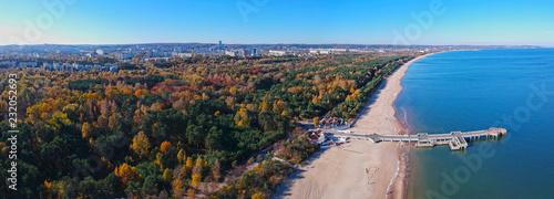 Panorama of Baltic Sea pier in Gdansk Brzezno at autumn, Poland