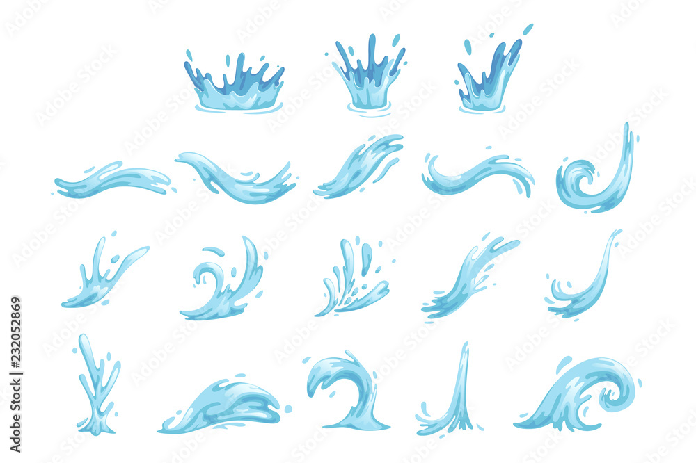 Fototapeta Set of blue waves and water splashes, wavy symbols of nature in motion vector Illustrations