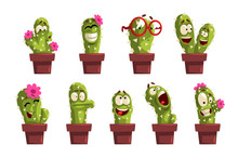 Potted Cactus Characters Sett, Funny Cacti In Flower Pot With Different Emotions Vector Illustrations On A White Background