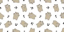 Bear Seamless Pattern Vector Polar Bear Singing Song Music Note Dancing Cartoon Scarf Isolated Tile Background Repeat Wallpaper Gift Wrap