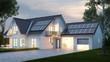 Leinwandbild Motiv Haus mit Beleuchtung abends
