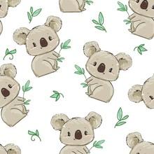 Hand Drawn Cute Koala Pattern, Print Design Background, Children Print Textile Design