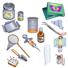 Set Of Entomologist Accessories Icons