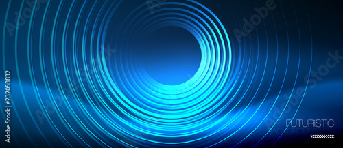 Fototapeta Neon glowing circles background obraz na płótnie