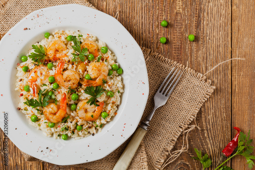 Risotto With Shrimp. Flat lay.