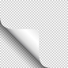 Curly Page Corner, Isolated On Transparent Background.
