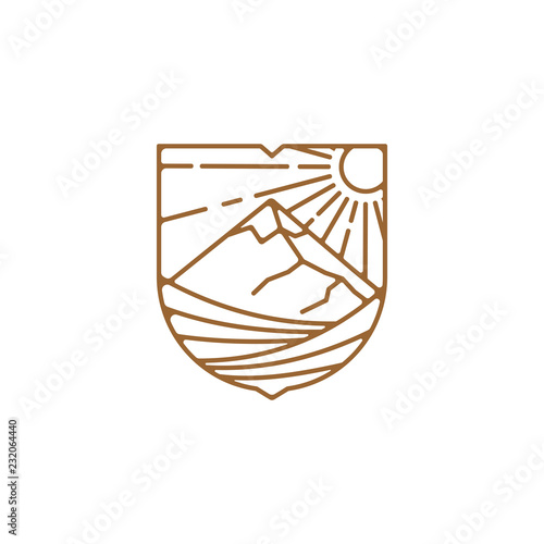 Line art vineyard logo design illustration, mountain logo design