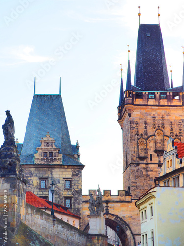 Foto op Plexiglas Praag Charles Bridge in Prague, Czech Republic. Downtown, skyline on sunset, Lesser Town Bridge Towers, sculptures of Charles Bridge