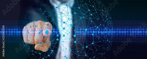 Fotografering  Index pointeur code binaire et réseau informatique