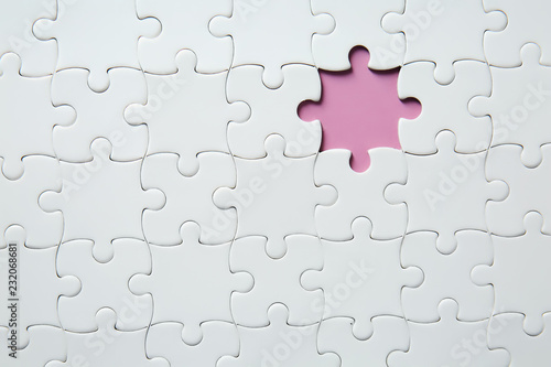 Fotografia, Obraz  Jigsaw puzzle with missing fragment