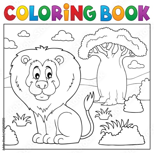 Tuinposter Voor kinderen Coloring book African nature topic 3