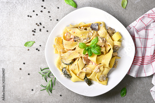 Delicious pasta dish with ricotta sauce and fresh herbs Fototapeta