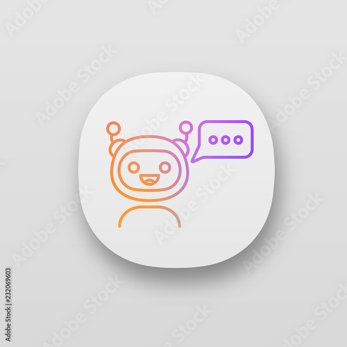 Chatbot with three dots in speech bubble app icon - Buy this