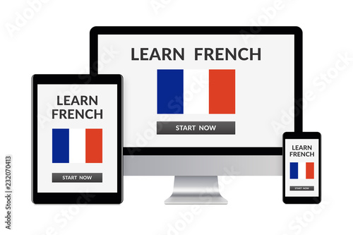 Fotografía  Desktop computer, tablet and smartphone isolated on white with learn french concept on screen