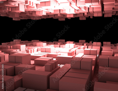 abstract cubes background city 3d. 3d rendered illustration